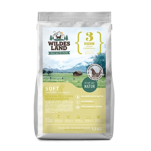 Wildes Land | Halbfeuchtes Trockenfutter für Hunde | Nr. 3 Huhn | 1,5 kg | mit Reis und Wildkräutern | Glutenfrei | Extra viel Fleisch | Soft Alle Hunderassen | Beste Akzeptanz und Verträglichkeit