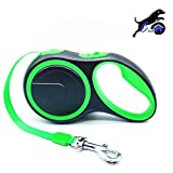 Cian Heavy Duty Retractable Dog Leash, 16 ft Strong & Durable Walking Leash for Small/Medium/Large Dog, Reinforced Nylon Ribbon, One Touch Upgraded Locking System, One Button Break, Tangle-Free, Anti-Slip Rubberized Handle (Green)