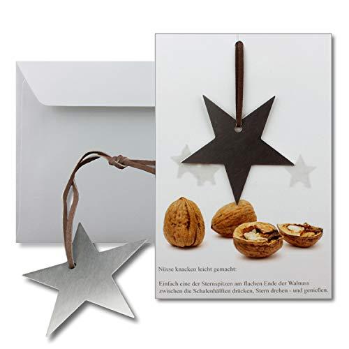 2x Grußkarten mit echtem Edelstahl-Nussknacker Form Stern und Lederband inklusive Umschlägen in Naturweiß Format DIN B6