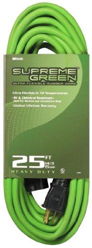 Woods 4301 14/3 25-Foot Ultra-Flex Rubber SJOW Extension Cord (Supreme Green)