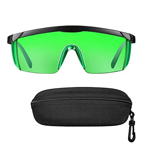 Green Laser Enhancement Glasses, Elikliv Eye Protection Safety Glasses Goggles for Green Laser Level (Glasses Case Included)