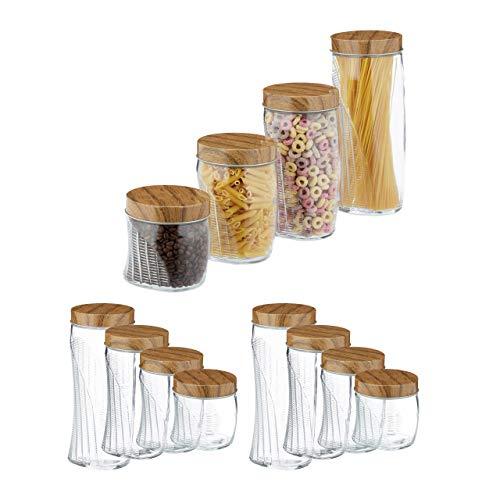 Relaxdays 12 x Vorratsglas, 600, 1000, 1500, 2000 ml, Schraubglas für Müsli, Pasta, Reis, mit Schraubdeckel Metall, transparent