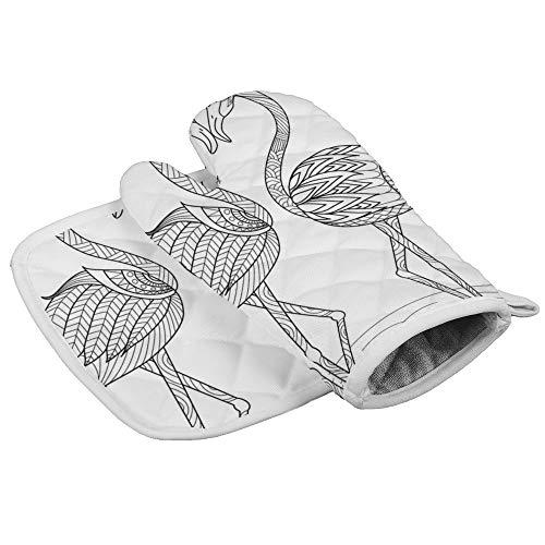 Yutess Hittebestendige geïsoleerde oven wanten pannenlappen Keuken Oven Handschoenen voor het bakken BBQ Grilling Flamingo Kleurplaten Vector Afbeelding {Aangepast, Gepersonaliseerd}