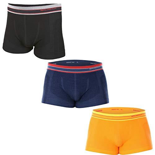 BRUBECK 3X BX10870 Active Wool Hombres Boxer | Merino | Ropa Interior Funcional | Multicolor