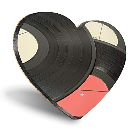 Posavasos con forma de corazón de MDF, discos de música de vinilo, retro, estilo vintage, con calidad brillante, protección de mesa para cualquier tipo de mesa #24397