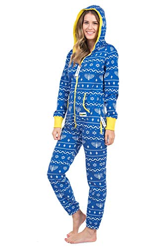 Tipsy Elves' Women's Blue Hanukkah Jumpsuit - Cute and Cozy Holiday Adult Onesie Size Large
