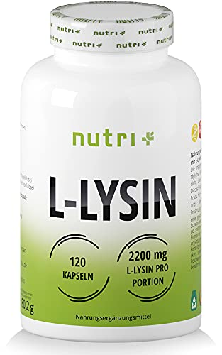 L-LYSIN Kapseln hochdosiert + vegan - 2200mg pro Tagesdosis - laborgeprüft - 120 Caps je 550mg - Baustein für Kollagen & Bindegewebe - Pure L-Lysine Hcl Aminosäure - pflanzlich