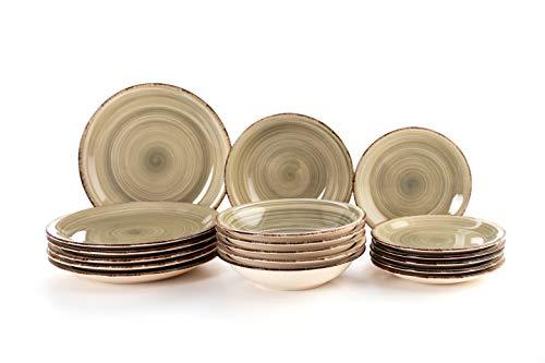 Quid Vajilla Completa Moderna de Porcelana para 6 Personas (18 Piezas) Llanos, hondos, Platos Postre, Gres, Gris Perla (Vita)