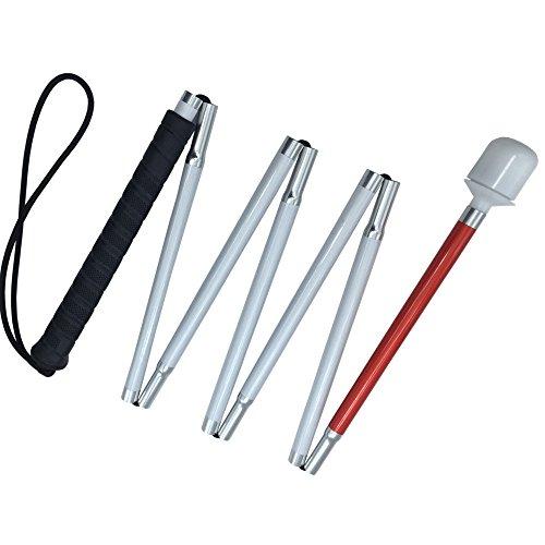 VISIONU Aluminio Baston Blanco para Ciegos y Baja Vision Plegable, 7 Secciones (Mango de Negro, 140 cm (55 Pulgada))
