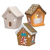 Baker Ross Portavelas de cerámica con Forma de Casita de Jengibre (Paquete de 3) Manualidades decorativas navideñas para niños