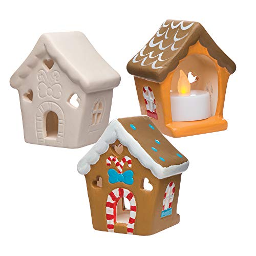 Baker Ross AR693 Gingerbread House Box of 3, Christmas Ceramic Tealight Holder Kits, Great for Kids Christmas Crafts and Gifts