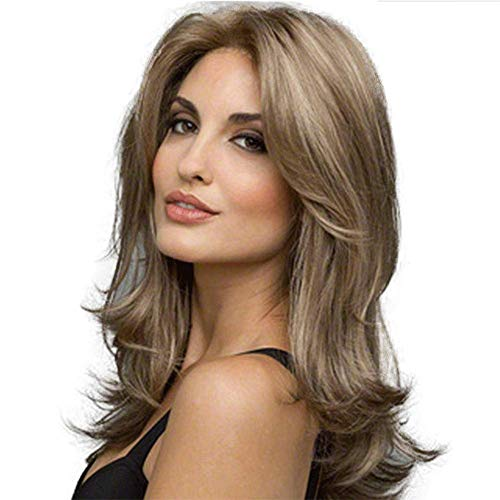 Unknow Perruques Moyen Long Mesdames Wave Mode féminine Perruque de Cheveux Bruns bouclés Perruques de Chaleur synthétiques Femmes Mode Curls Vague Charme (Fil à Haute température)
