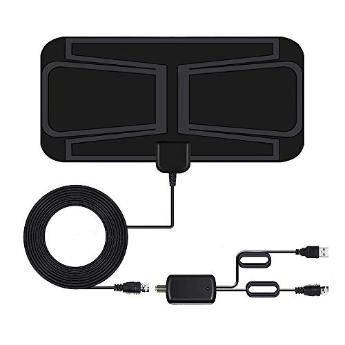 TV Aerial, Indoor HD Digital TV Antenna 80 Miles Freeview Aerial with Amplifier Signal Booster, Support 4K 1080P HD/VHF/UHF Freeview for Local Channels with 13.1ft Coax Cable [2020 Newest]