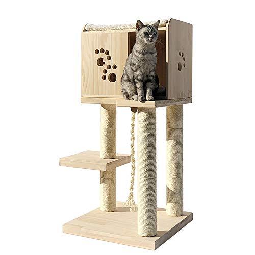 Liergou Kratzbaum Verkratzen Katze Baumklettern Barsch Plattform Turm Hauskatze Haustier Katze Mit Holzmöbeln Spielen (Color : Natural, Size : As pictiure)