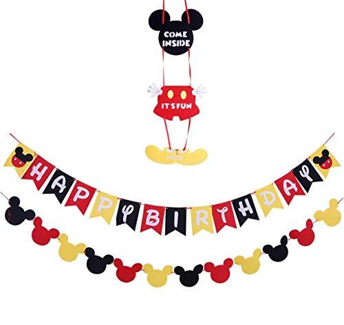 28 PCS Kit Decoraciones de cumpleaños de Mickey Mouse,Banderines y guirnaldas para fiestas feliz cumpleaños de Mickey Mouse decoracion cumplea