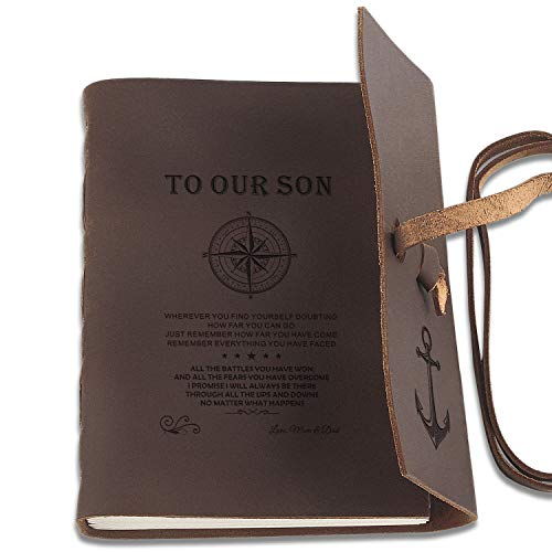 Premium Handmade Leather Journal Personalized Antique Writing Notebooks 7x5 Inch Unlined Leather Bound Daily Notepad for Men Perfect Son Gifts at Birthday, Graduation for Art Sketchbook, Travel Diary