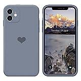 13peas Kompatibel mit iPhone 12 Mini Hülle 5.4''(2020),Herz Motiv Liquid Silikon Gummi Ganzkörperschutz stoßfeste Hülle schutzschale Hüllen Tasche Handytasche Etui für Apple 12 Mini (Grau)