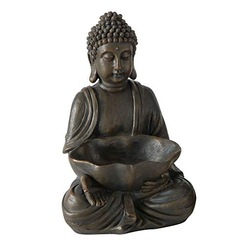 Seated Buddha with Bowl, for Gardens and Indoor Areas, Rustic Brown, Faux Stone Finish, Hand Cast Polyresin, 11.75 Inches Tall