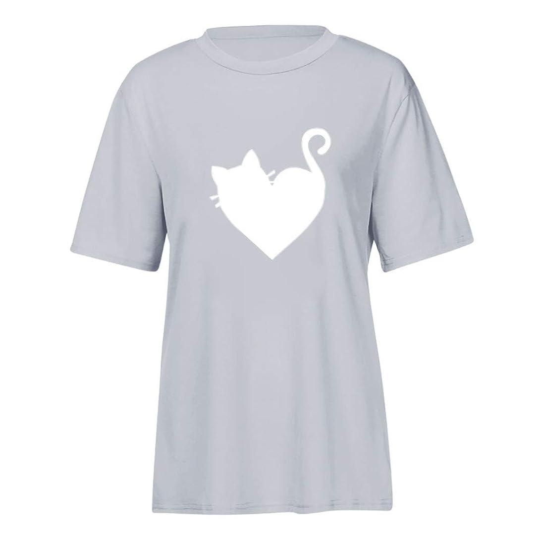 敏感な寛大なフォーム半袖 トップス Foreted レディース Tシャツ 猫模様 ゆるい ゆったり おしゃれ かわいい 日常 トップス Tシャツ おもしろ プリント
