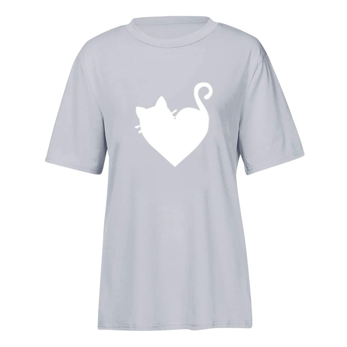 マスク傷跡殺す半袖 トップス Foreted レディース Tシャツ 猫模様 ゆるい ゆったり おしゃれ かわいい 日常 トップス Tシャツ おもしろ プリント
