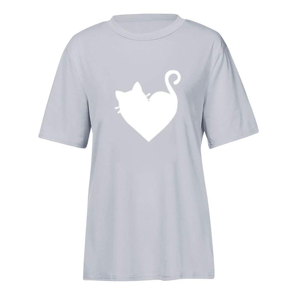 確実吹きさらしかすかな半袖 トップス Foreted レディース Tシャツ 猫模様 ゆるい ゆったり おしゃれ かわいい 日常 トップス Tシャツ おもしろ プリント