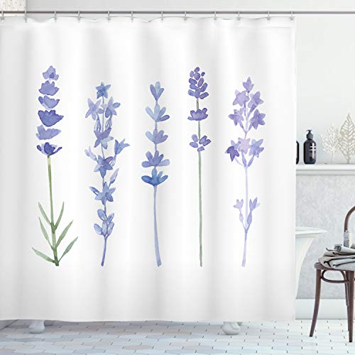 ABAKUHAUS Lavendel Duschvorhang, Aquarell ländlichen Kräutern, mit 12 Ringe Set Wasserdicht Stielvoll Modern Farbfest & Schimmel Resistent, 175x180 cm, Lavendel Lila & Grün