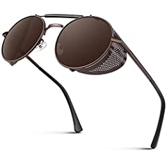 STEAMPUNK STYLE: This pair of Sunglasses gives you a perfect classy fit for both men and women, thanks to its steampunk and Side Shield Goggles Gothic design. Effectively reduce the reflection inside the mirror surface caused by side light. UV400 &...