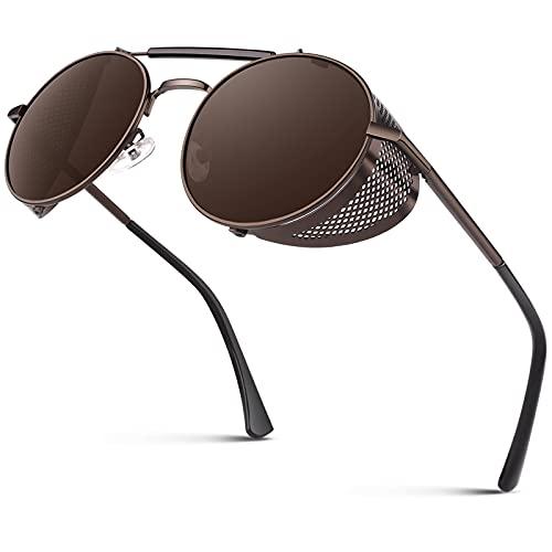 CGID Retro Sonnenbrille im Steampunk Stil Runde Metallrahmen Polarisiert Brille Herren Damen Braun Braun, CAT3, CE, E92