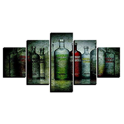 haiyilan Wandkunst für Dekorationen 5panel Satz Hintergrundbilder Kreative Weinflasche Bier Home Bar im nordischen Stil Gedruckte Gemälde Einfache Leinwanddrucke Minimalistische Plakate Wandbild druc
