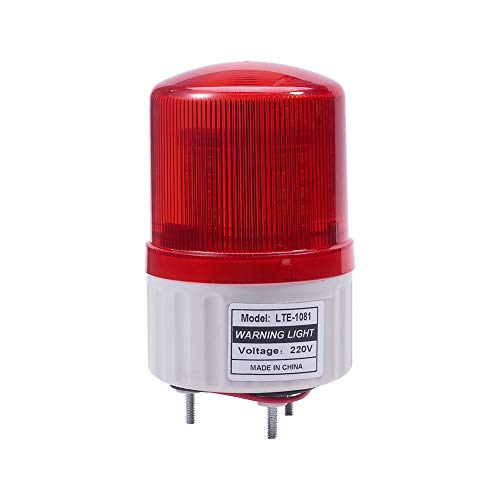 Othmro Warning Light Bulb Industrial Signal Tower Lamp Plastic Electronic Parts Rotate No Sound 2W 220V Red TB-1081 1pcs