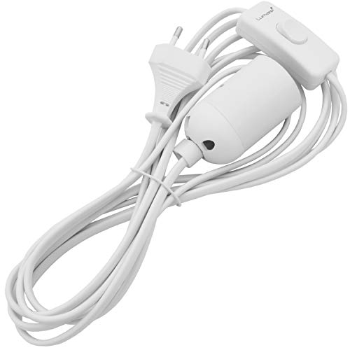 Lumare E27 Lampenfassung mit Schalter und Netzkabel Lampensockel mit Kabel Fassung Adapter Sockel weiß