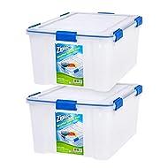 IRIS USA WSB-LD Ziploc WeatherShield 60 Quart Storage Box, Clear, 2 Count