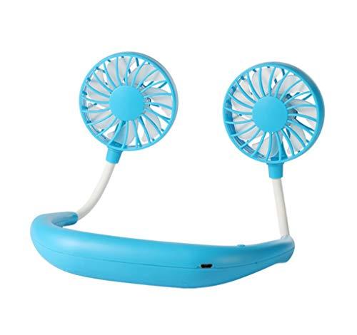 Pequeño ventilador portátil, deportes colgando del ventilador cuello, abanico plegable recargable USB, ventilador de mesa de mano, el viento inalámbrico portátil, de tres velocidades, duración de la b