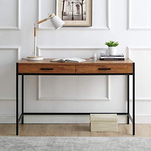 AYNEFY Escritorio de diseño industrial con 2 cajones, ahorra espacio, mesa de trabajo, mesa de ordenador vintage, para dormitorio, salón, oficina, negro, 120 x 48,5 x 76 cm