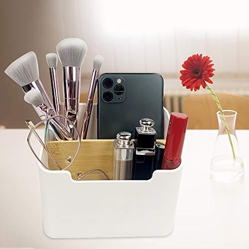 Xnuoyo Schreibtisch Aufbewahrungsbehälter, Abnehmbarer Bambus-Desktop-Organizer Kunststoff Aufbewahrungsboxmit 2 Fächer, Fernbedienungshalter Aufbewahrungsbox Home Office-Zubehör Multifunktionaler