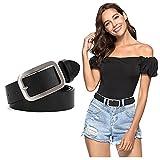 XZQTIVE Damen Ledergürtel Mode Dornschnalle Gürtel für Jeans Hosen Kleider, Schwarz,120cm