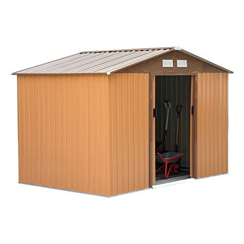 Outsunny 9 x 6FT Outdoor Garden Roofed Metal Storage Shed Tool Box with Foundation Ventilation & Doors Khaki
