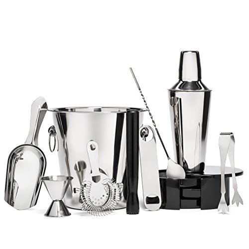 Premium 10 Piece Cocktail Shaker / Martini Bartender Kit | Stainless Steel Bar Tool Gift Set - w/ Ice Bucket & Tongs, Rotating Glass Rimmer, Double Measuring Jigger, Muddler, Bottle Opener & Mix Spoon