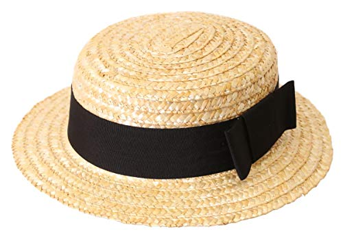 0112PDPOCV4 ILOVEFANCYDRESS Chapeau de canotier de Paille Couleur blé pour Homme avec Son Ruban Noir.