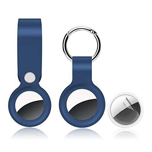 RongZy Funda de silicona para Airtag Airtags, llavero y tipo montado en la muñeca con película protectora para Airtags Funda para accesorios llavero Cartera Equipaje Collar de perro (azul)