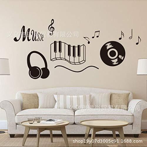 JXLLCD Musik Noten CD Musik Tastatur Headset notenschlüssel Muster wandtattoo Dekoration Musik Zimmer 56 * 118 cm