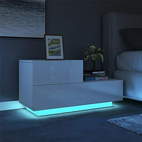 ZZFF Multifunción LED Mesas de Noche Gabinete Almacenamiento Mesa de Noche Tabla Noche Dormitorio NightStand Muebles para el hogar para la iluminación Nocturna (Color : A White)
