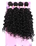 FRELYN Water Wave Bundles Curly Synthetic Hair Weave 16 18 18 20 Inches 4 Bundles Mixed Color 2# Dark Brown High Temperature Heat Resistant Fiber