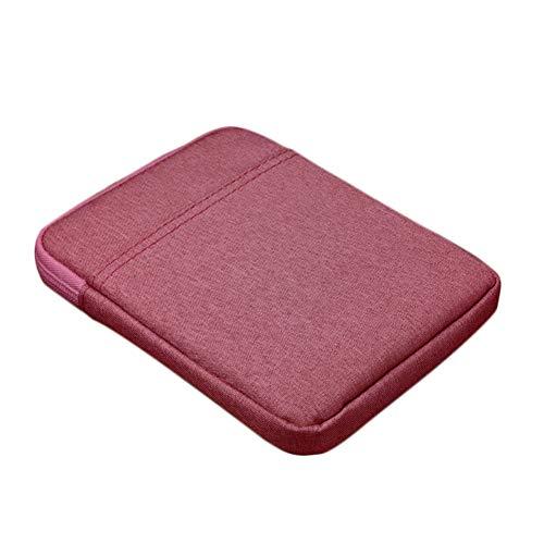 Milnut ebook Reader Tasche 6 Zoll aus Canvas mit Reißverschluss - Weich Baumwolle Schutzhülle Hülle Case Größe 6 Zoll für Tolino/Kindle eReader - Rose Rot