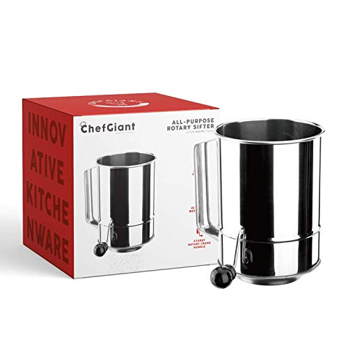 ChefGiant 5 Cup Flour Sifter Rotary Hand Crank Stainless Steel 16 Fine Mesh Screen
