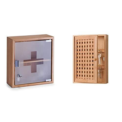 Zeller 13594 Medizinschrank, Bamboo/Glas & 13190 Schubladenelement, 5-er, Birke, ca. 12 x 13 x 60 cm, Sonstige, 13 x 12 x 58 cm
