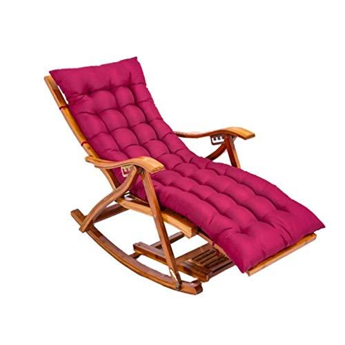 WFFF Silla Plegable, Mecedora de bambú Ajustable para el balcón del hogar, sillón reclinable portátil con Respaldo con función de Masaje en el Parque