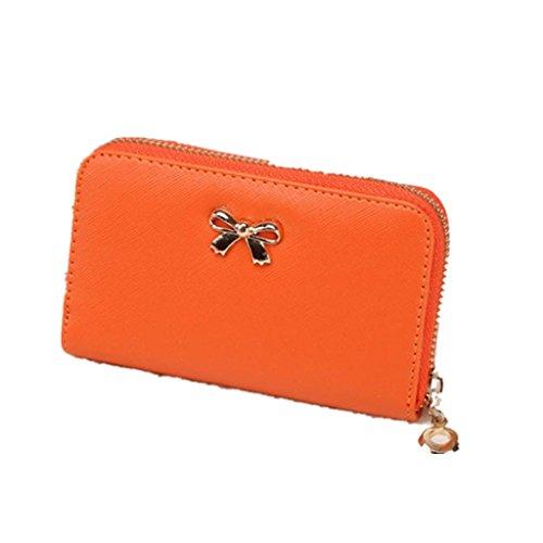 Vovotrade Femmes Korean Mignon Bowknot Sac à Main Solide Portefeuille à Court Portefeuille (14cm x 9cm x 2cm, Orange)