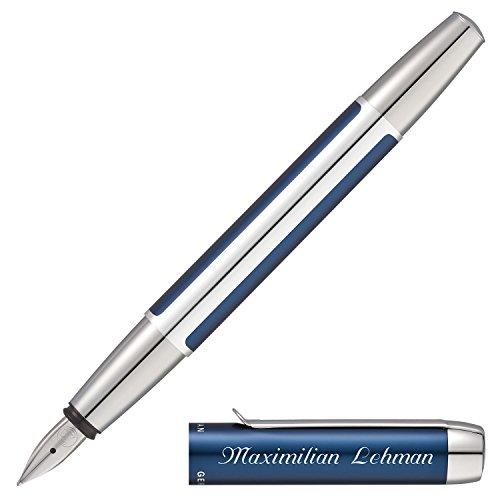 Pelikan Füllfederhalter PURA Blau-Silber mit persönlicher Laser-Gravur aus Aluminium mit Hochglanz verchromten Metallbeschlägen