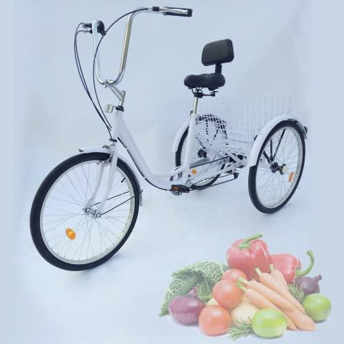 Triciclo para adultos de 24 pulgadas, 3 ruedas, 6 marchas, bicicleta para personas mayores, triciclo cruise, bicicleta con reflector para adultos, triciclo cómodo, bicicleta al aire libre